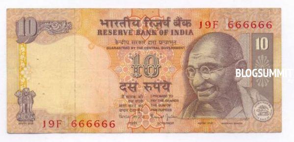 Валюта Индии в десять рупий